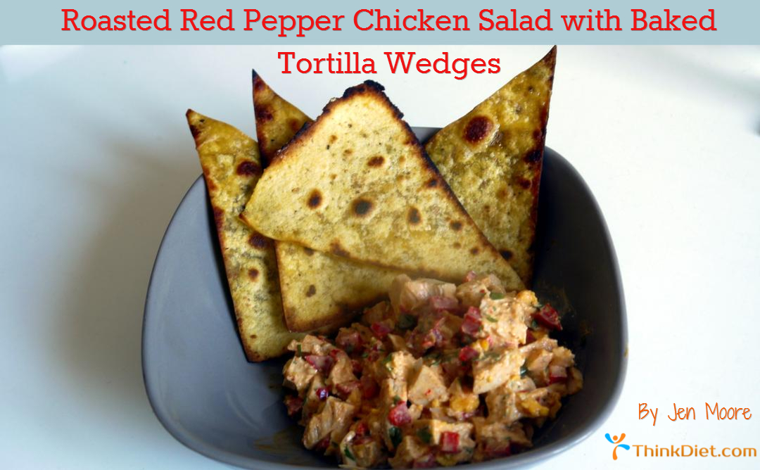 Roasted Red Pepper Chicken Salad with Baked Tortilla Wedges Recipe